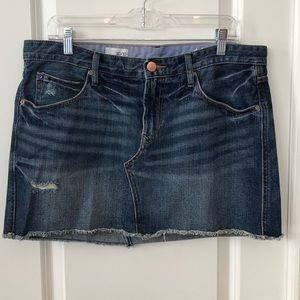 Like new Gap destroyed dark blue Jean skirt.